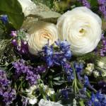 Vita rosor tillsammans med diverse lila blommor.