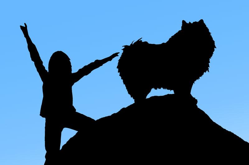 Silhuett av flicka och hund på stor sten.